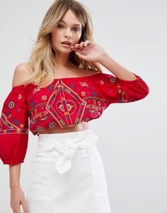 Кроп-топ с вышивкой New Look - Красный