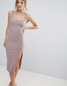 Фиолетовое платье миди в рубчик с овальным вырезом Missguided - Розовый