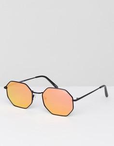 Черные солнцезащитные очки шестиугольной формы Quay Australia On A Dime - Черный