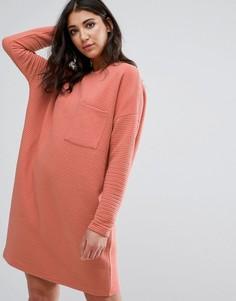 Оранжевое платье-джемпер в рубчик с карманом Missguided - Розовый