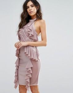 Бандажное платье с оборками и ромбовидным узором на сетчатой вставке WOW Couture - Розовый