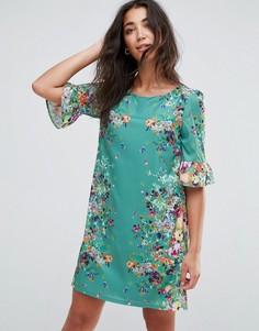 Платье с оборками на рукавах и цветочным принтом Yumi - Зеленый