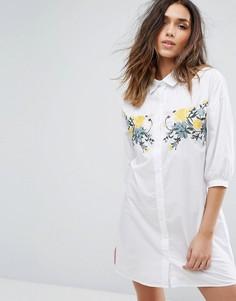 Платье-рубашка с вышивкой Boohoo - Белый