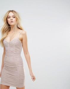 Платье мини с присборенной отделкой Lipsy - Розовый
