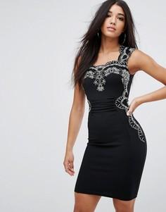 Облегающее платье миди с кружевной отделкой Lipsy - Черный