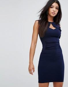 Облегающее платье миди с кружевной отделкой и оборками Lipsy - Темно-синий