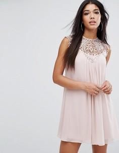 Свободное платье с кружевной отделкой Lipsy - Розовый