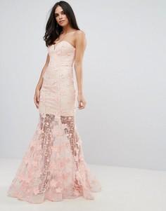 Платье макси с цветочной 3D-отделкой Forever Unique - Розовый