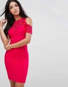 Облегающее платье миди с открытыми плечами Lipsy - Красный