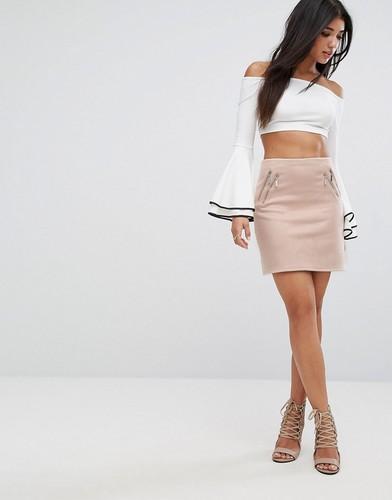 Мини-юбка из искусственной замши с молнией Lipsy - Розовый