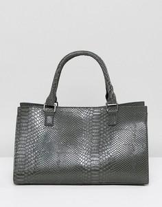 Структурированная серая сумка-тоут с отделкой под крокодиловую кожу Glamorous - Серый