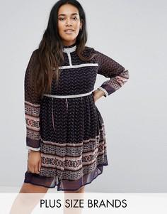 Платье с принтом и кружевной отделкой Diya - Синий