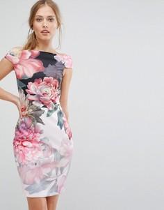 Платье с открытыми плечами и цветочным принтом Ted Baker - Мульти