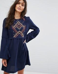 Свободное платье с вышивкой Suncoo - Темно-синий