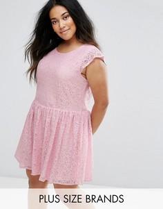 Короткое приталенное платье из кружева Diya - Розовый