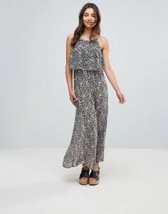 Платье макси с принтом и оборкой QED London - Темно-синий