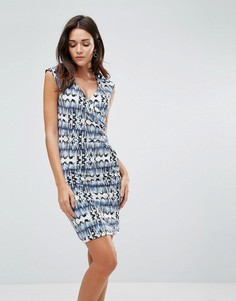 Платье с принтом и сборками по бокам b.Young - Мульти