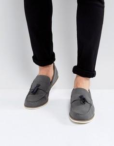 Лоферы из искусственной замши с кисточками Burton Menswear - Серый