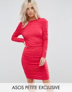 Облегающее платье мини с длинными рукавами и сборками ASOS PETITE - Розовый