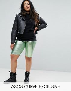 Зеленые шорты-леггинсы металлик с завышенной талией ASOS CURVE - Зеленый