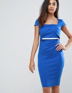 Платье миди с поясом и короткими рукавами Jessica Wright - Синий