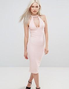 Облегающее платье миди AX Paris - Розовый