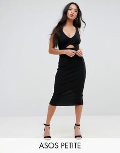 Облегающее платье миди с эластичным поясом ASOS PETITE - Черный