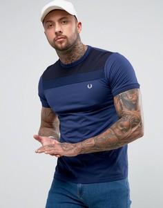 Узкая темно-синяя футболка с фактурной вставкой Fred Perry - Темно-синий
