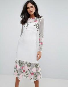 Платье с длинными рукавами, цветочным принтом и баской Forever Unique - Белый