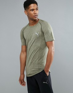 Футболка цвета хаки Puma Running evoKNIT 59063214 - Зеленый