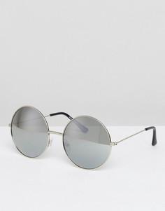 Круглые солнцезащитные очки в стиле oversize AJ Morgan - Серебряный