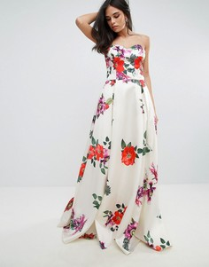 Платье макси для выпускного без рукавов с цветочным принтом Forever Unique - Мульти