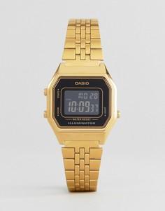 Небольшие цифровые часы с черным циферблатом Casio LA680WEGA-1BER - Золотой