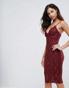 Кружевное платье на бретелях Jessica Wright - Розовый