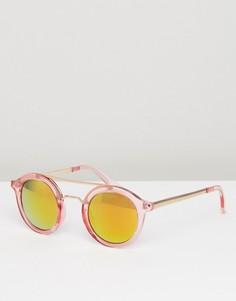 Розовые круглые солнцезащитные очки с зеркальными стеклами AJ Morgan - Розовый
