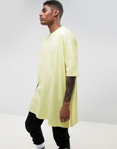 Желтая длинная oversize-футболка ASOS - Желтый