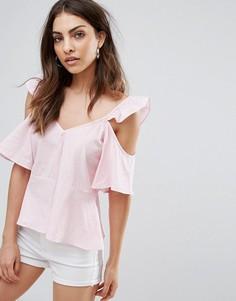 Топ с рюшами и вырезами на плечах Influence - Розовый
