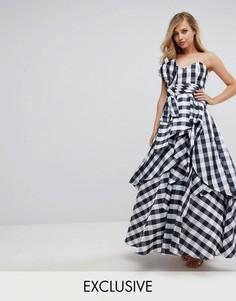Платье макси для выпускного с широким вырезом и бантом Fame and Partners - Мульти