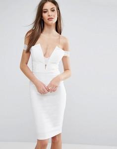 Платье миди со спущенными плечами и бретелями Rare London - Белый