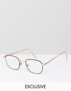 Круглые очки с прозрачными стеклами в черной оправе Reclaimed Vintage Inspired - Черный