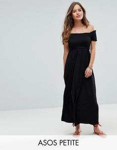 Легкое платье макси с присборенной вставкой ASOS PETITE - Черный