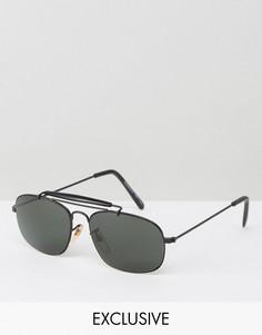 Солнцезащитные очки-авиаторы в черной оправе Reclaimed Vintage - Черный