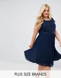 Платье с кружевным топом и плиссированной юбкой Lovedrobe - Темно-синий