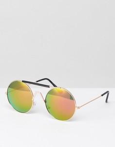 Солнцезащитные очки с красными стеклами в стиле ретро 7X - Золотой