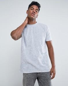 Свободная футболка с велюровым карманом Antioch - Серый
