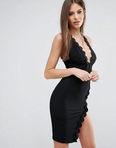 Платье с глубоким вырезом и волнообразной отделкой Rare London - Черный