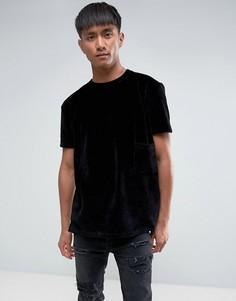 Велюровая oversize-футболка Antioch - Черный