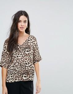Блузка с леопардовым принтом и V-образным вырезом Selected Leona - Мульти