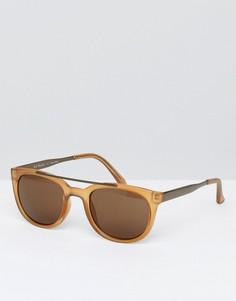 Круглые солнцезащитные очки янтарного цвета AJ Morgan - Золотой