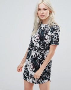 Платье с цветочным принтом Neon Rose - Мульти